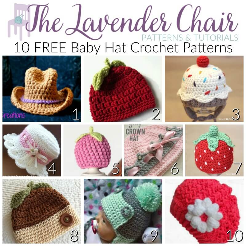FREE Baby Hat Crochet Patterns - The Lavender Chair