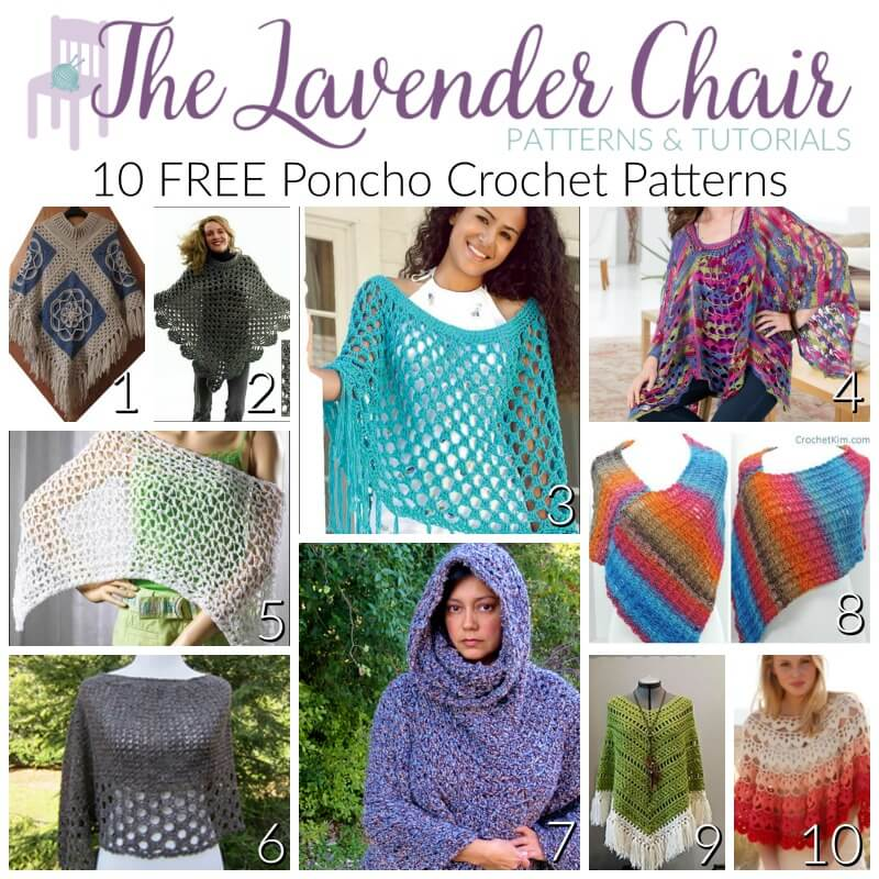 10 FREE Poncho Crochet Patterns - The Lavender Chair