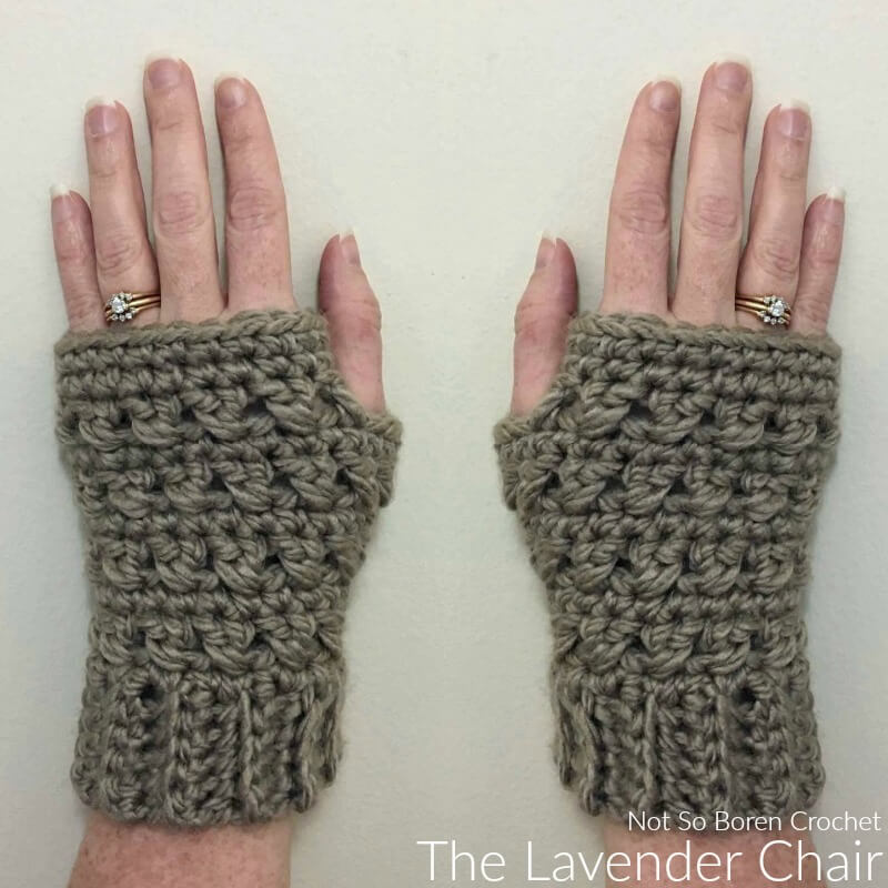 Crossed Double Fingerless Gloves Crochet Pattern