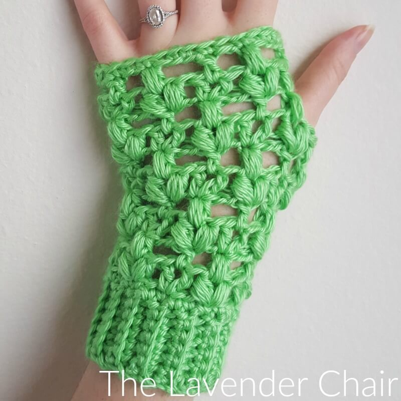 Clover Puff Fingerless Gloves Crochet Pattern