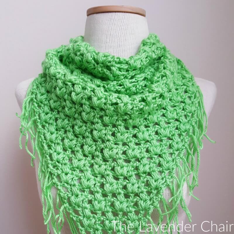 Clover Puff Triangle Scarf Crochet Pattern