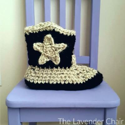 Chunky Cowboy Slippers Crochet Pattern