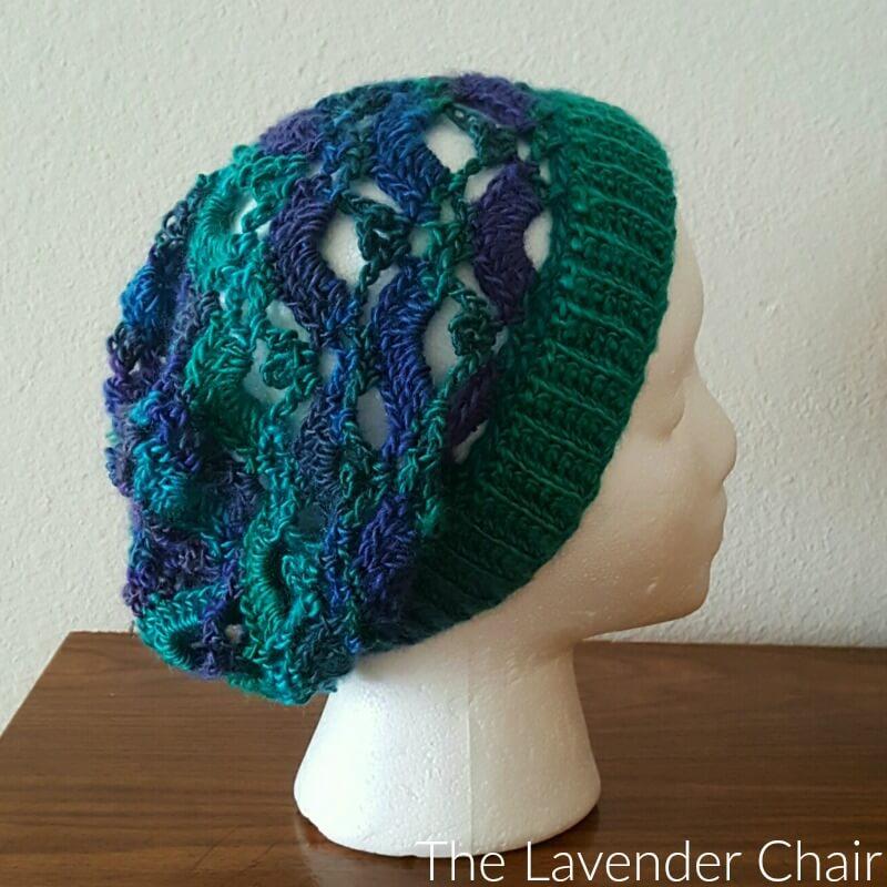 Gemstone Lace Slouchy Beanie Crochet Pattern