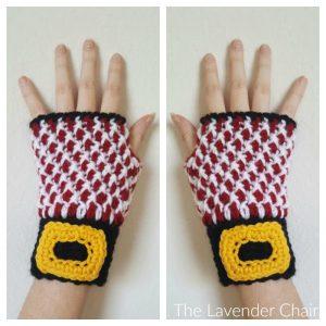 Mrs. Claus's Fingerless Peppermint Gloves Crochet Pattern
