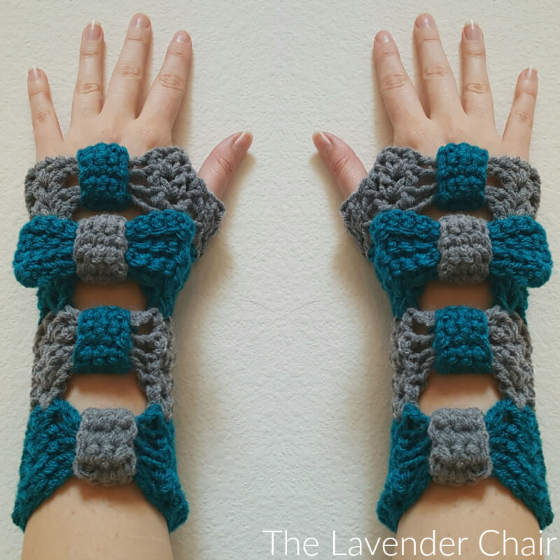 Valerie's Cinched Bow Fingerless Gloves Crochet Pattern