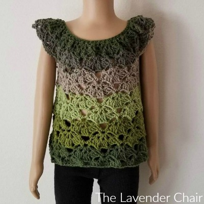 Rounded Yoke Falling Fans Top (Toddler – Child) Crochet Pattern