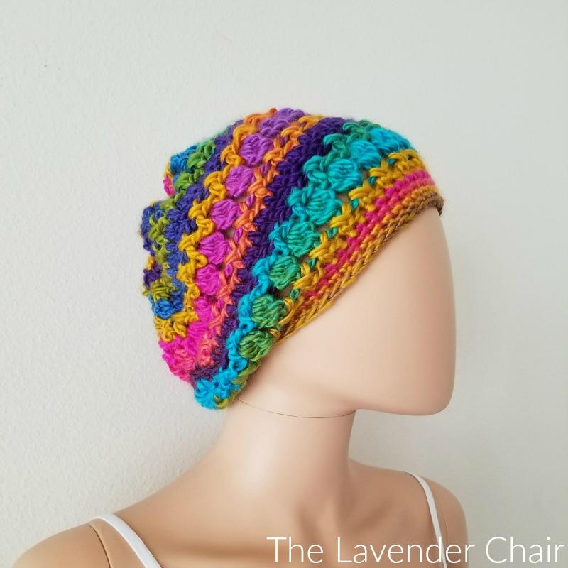 Crossed Bobble Slouchy Beanie Crochet Pattern