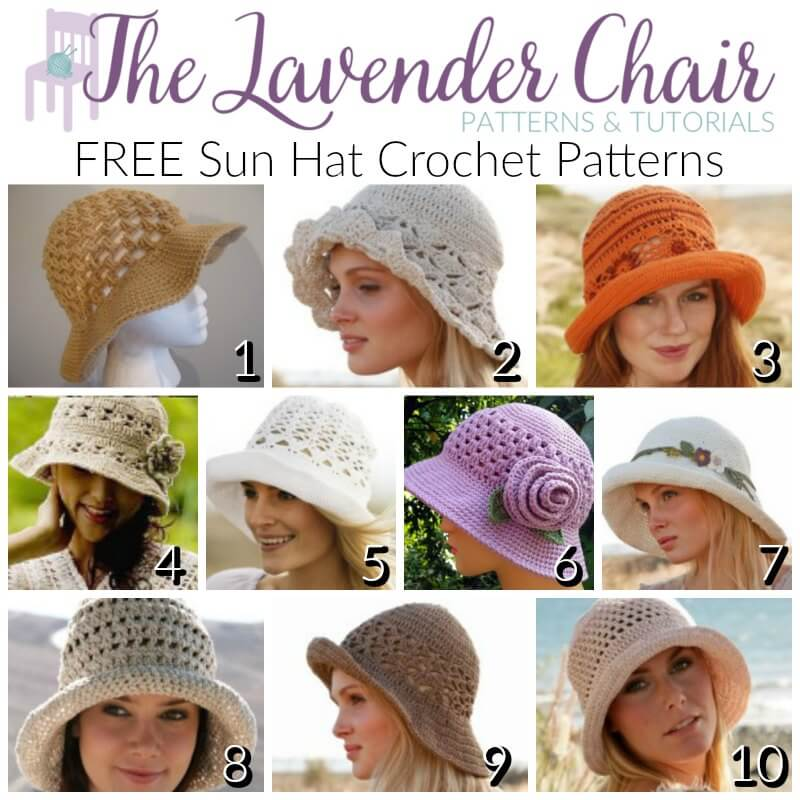 FREE Sun Hat Crochet Patterns - The Lavender Chair