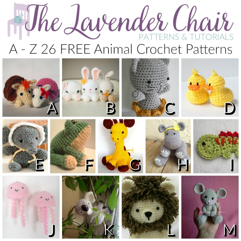 A Z 26 Free Animal Crochet Patterns The Lavender Chair