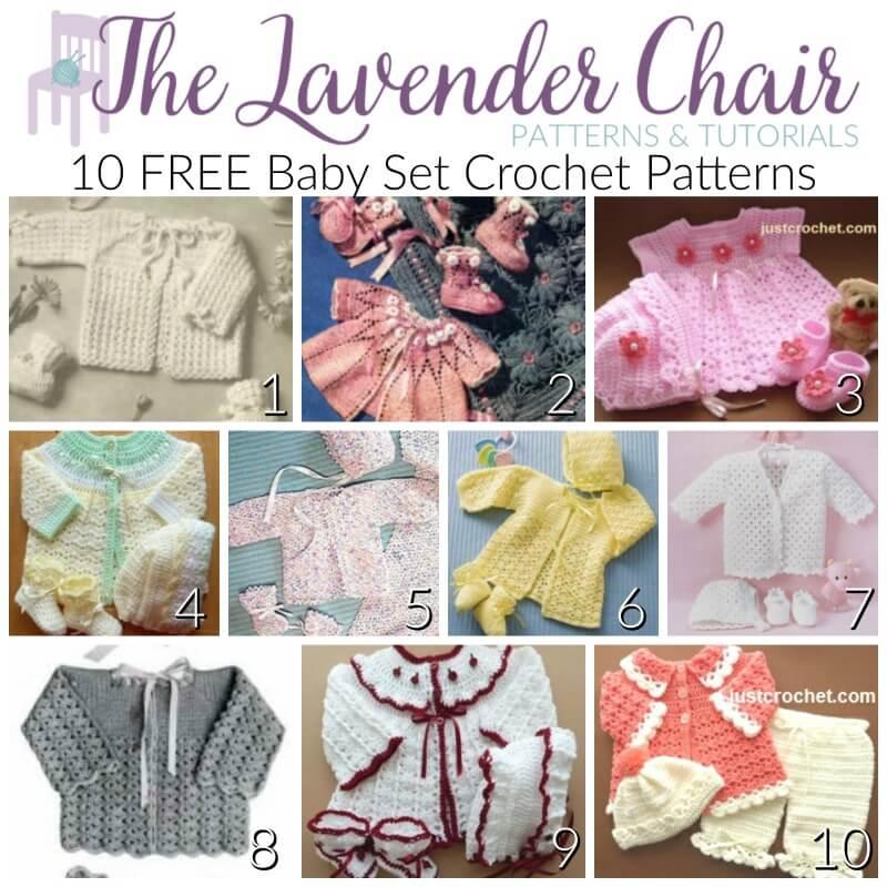 a5e9ab8eb FREE Baby Set Crochet Patterns - The Lavender Chair