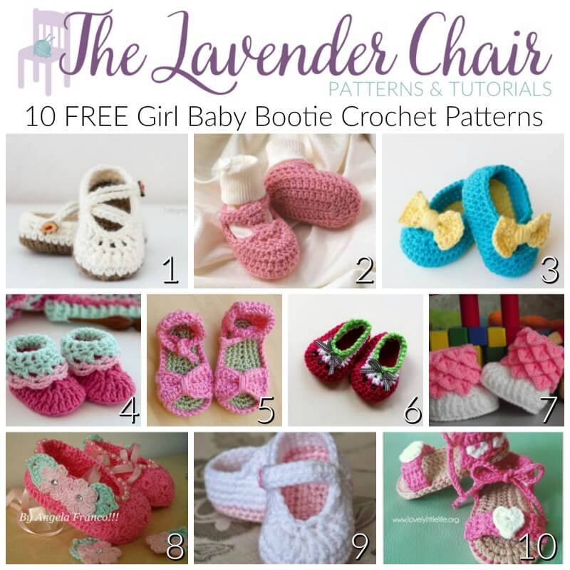 FREE Baby Bootie Crochet Patterns For Girls - The Lavender Chair
