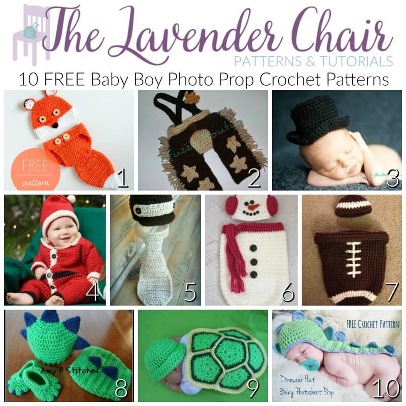 FREE Baby Boy Photo Prop Crochet Patterns - The Lavender Chair