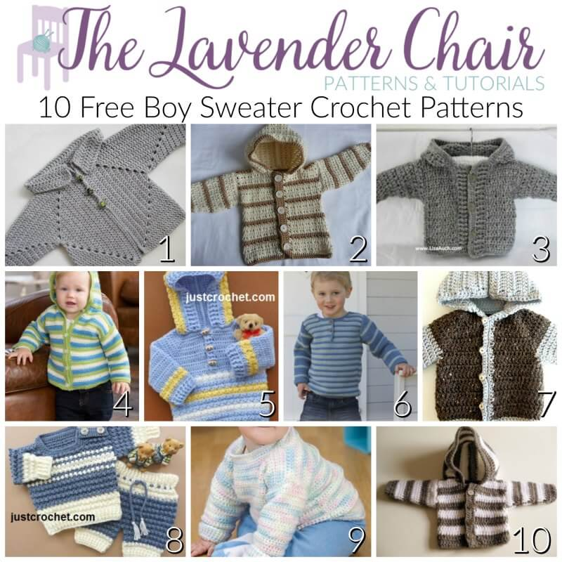 7ed4fbd4f976 10 FREE Boy Sweater Crochet Patterns - The Lavender Chair