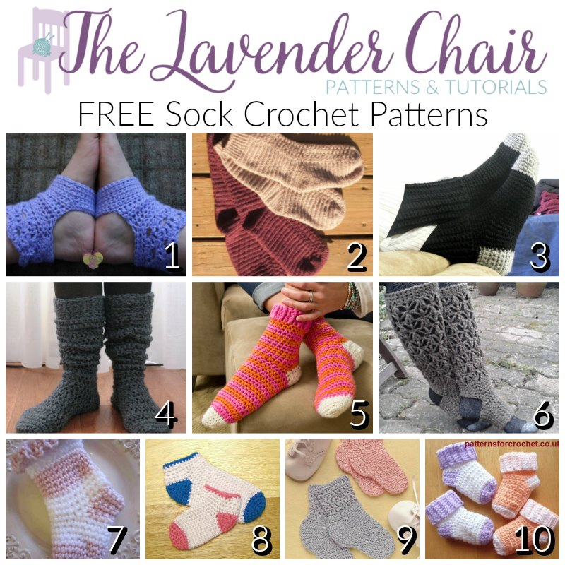 FREE Sock Crochet Patterns for Everyone - The Lavender Chair