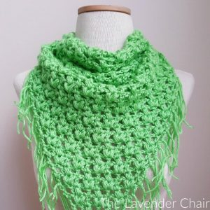 Clover Puff Triangle Scarf Crochet Pattern
