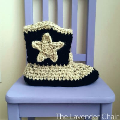 Chunky Cowboy Slippers Crochet Pattern - The Lavender Chair