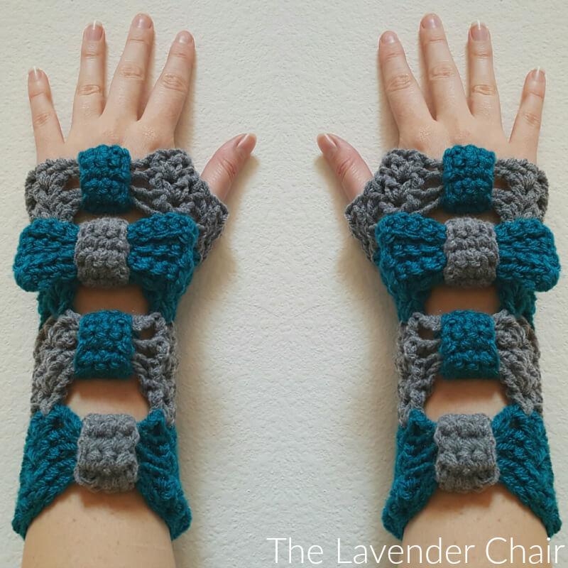 Valerie's Cinched Bow Fingerless Gloves Crochet Pattern