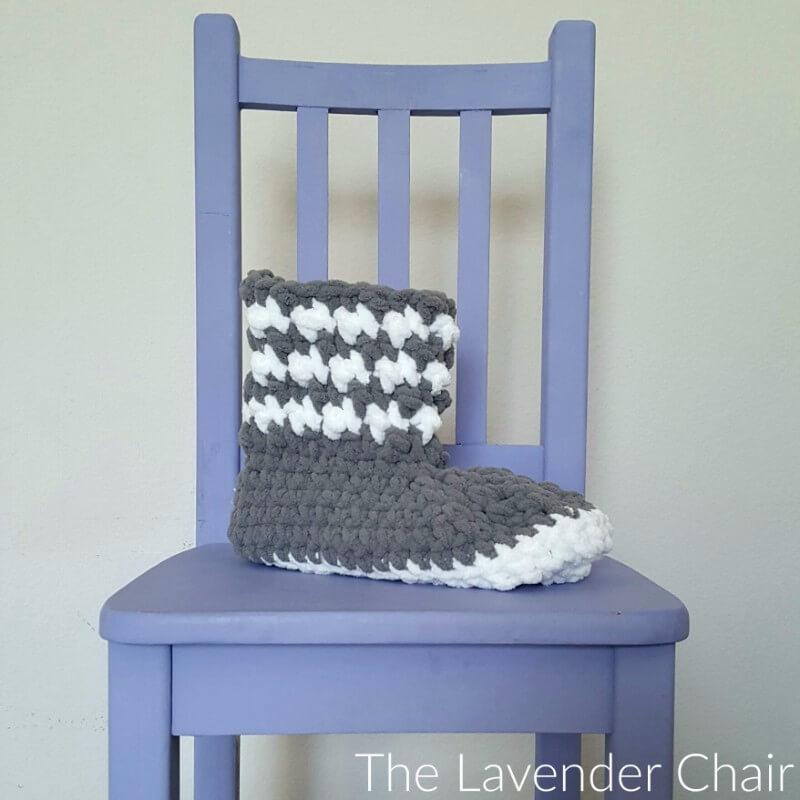 Houndstooth Slipper Boots Crochet Pattern