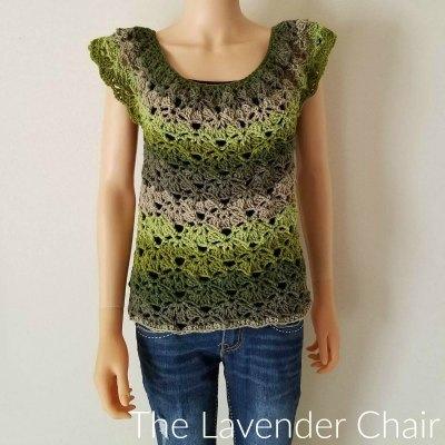 Rounded Yoke Falling Fans Top (Adult) Crochet Pattern