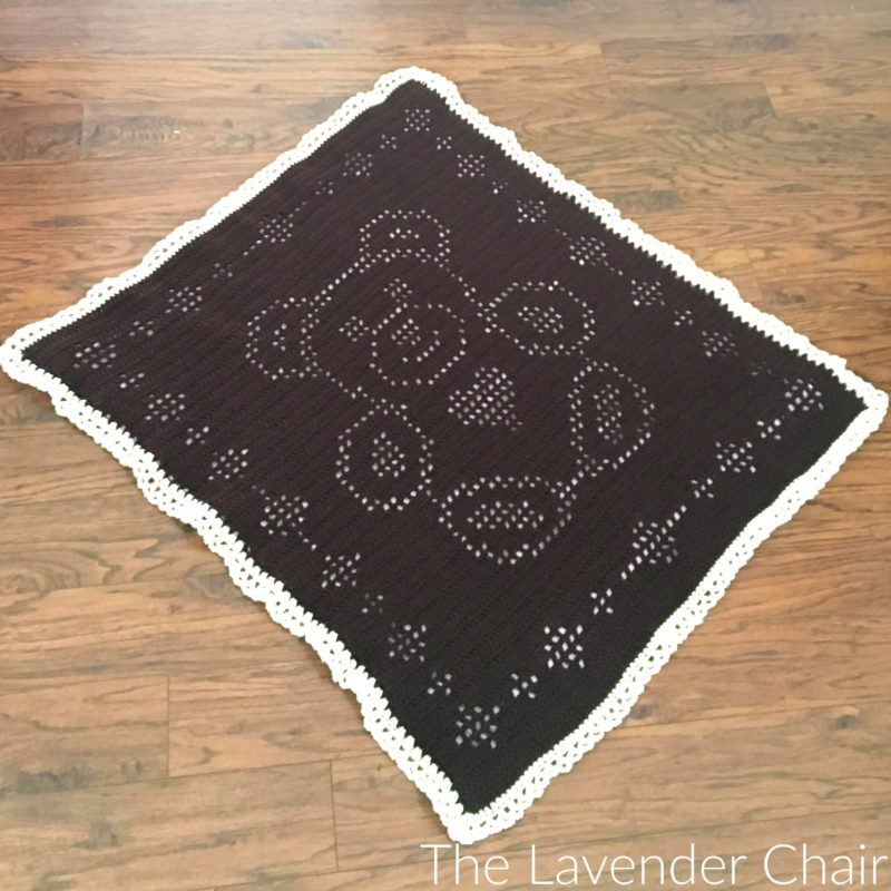 Filet Teddy Bear Blanket - Free Crochet Pattern - The Lavender Chair